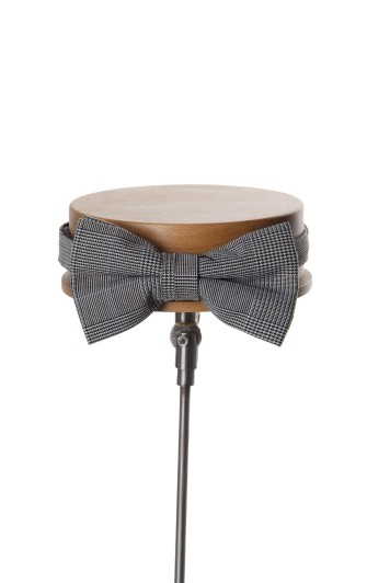 Prince of Wales grey wedding bow tie