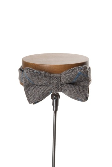 English tweed light grey & blue check wedding bow tie