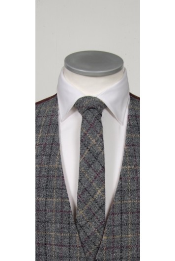 Harris Tweed Grey & Burgundy tie