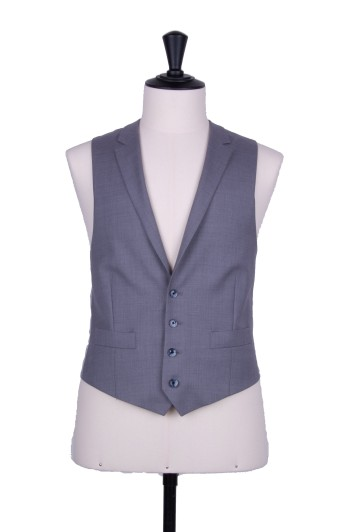 Grey pure wool collared waistcoat made to measure groom wedding