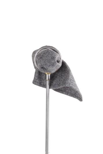 Tweed flannel grey Grooms wedding pocket square