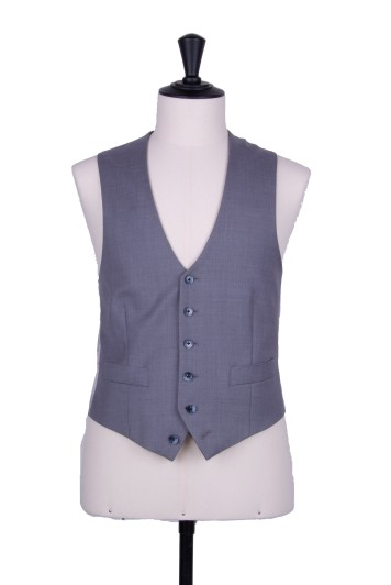 Grey pure wool scallop waistcoat made to measure wedding groom