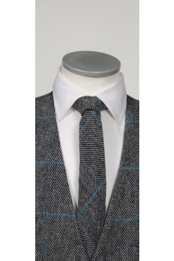 Harris Tweed Grey & Turquoise  tie