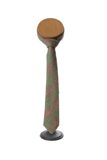 Tweed green pink Grooms wedding tie