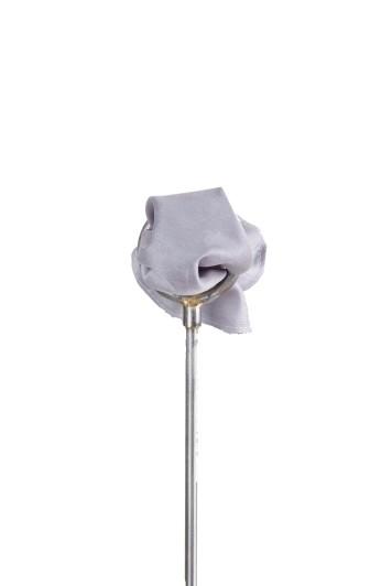 Gunmetal grey poly dupion Grooms wedding pocket square