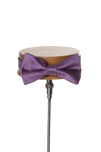 Lilac ribbed wedding bow tie