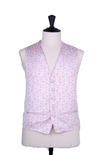 Hot pink wedding waistcoat floral