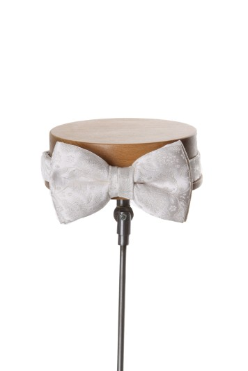 small floral ivory Grooms wedding bow tie