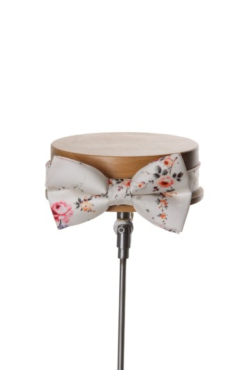 Grooms wedding bow tie ivory floral