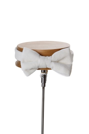Ivory velvet GRooms wedding bow tie