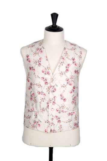 Floral ivory Grooms wedding waistcoat