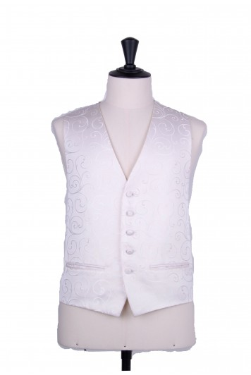 Swirl ivory wedding waistcoat
