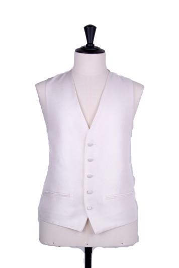 Ivory Grooms wedding waistcoat Oxford weave