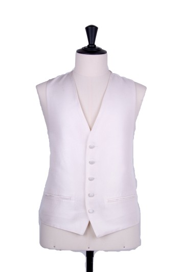 Ivory wedding waistcoat Oxford weave