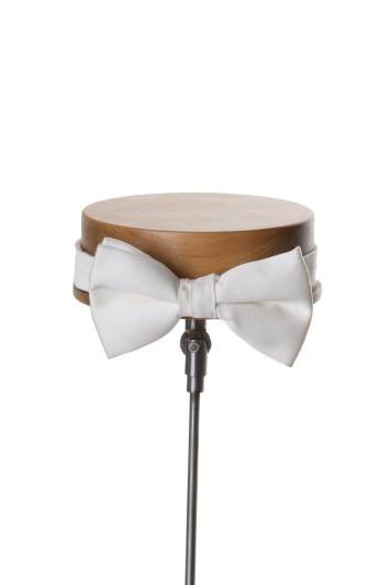 Ivory satin wedding bow tie
