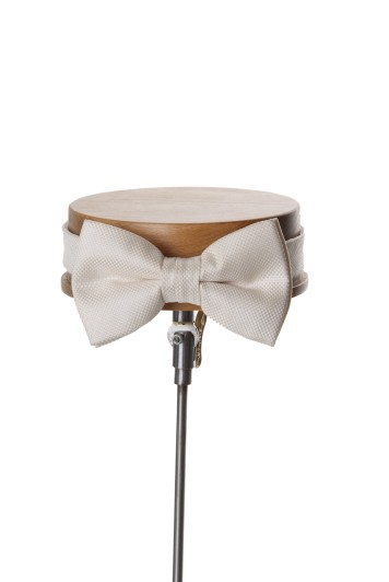 Ivory textured Grooms wedding bow tie