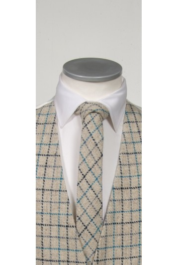 Harriss Tweed  Ivory & Navy tie