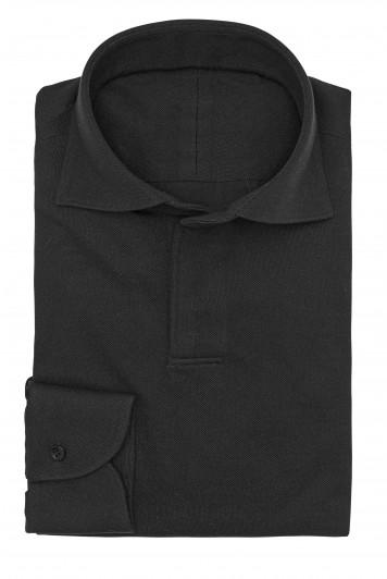 Black piqué shirt