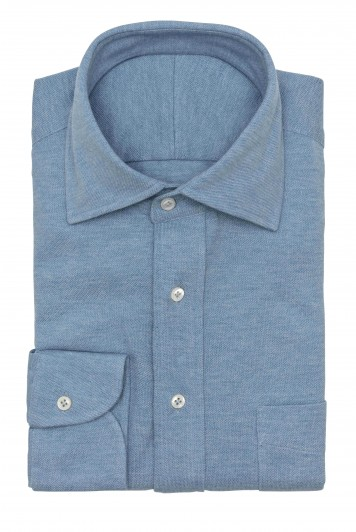 Light Blue melange piqué shirt