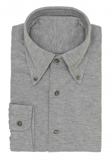 Light Grey melange piqué shirt