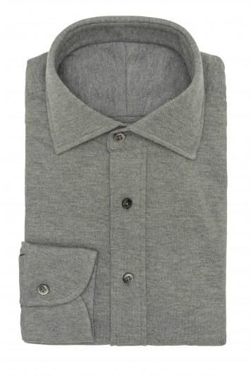 Mid Grey melange piqué shirt