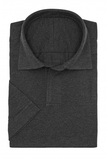 Dark Grey melange piqué short sleeve polo shirt