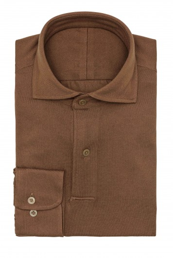caramel brown Piqué long sleeve polo Shirt