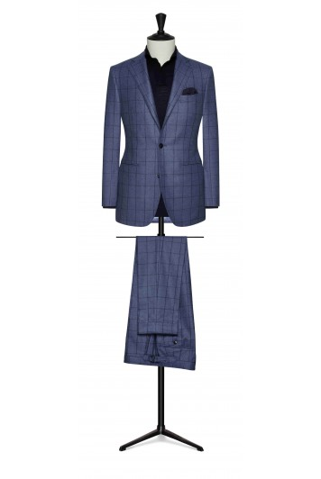 grooms light blue wool with dark blue fine windowpane wedding suit