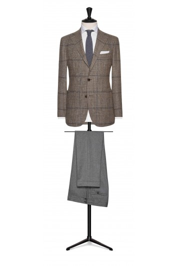 light brown wool-alpaca glencheck with light grey windowpane wedding jacket