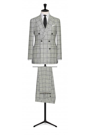 grooms light grey alpaca and wool blend with dark grey windowpane wedding suit