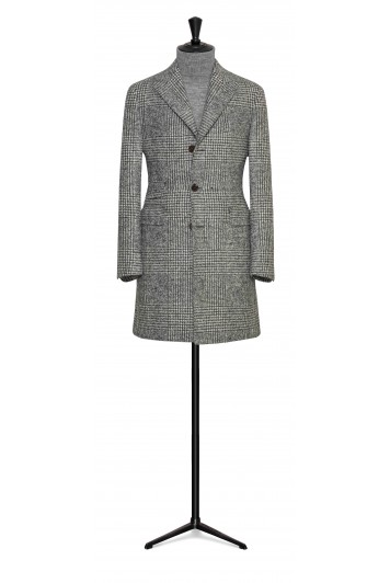 light grey felted alpaca-wool check buisness overcoat