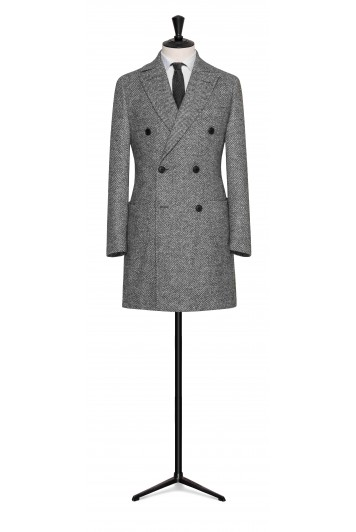 light grey wool-alpaca herringbone buisness double breasted overcoat