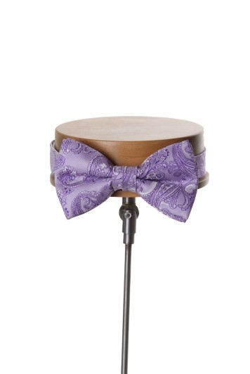 Come together lilac paisley wedding bow tie