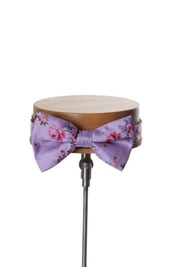 Lilac floral Grooms wedding bow tie