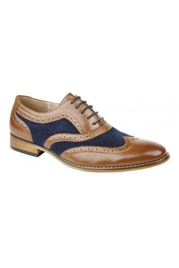 Tan & navy brogues