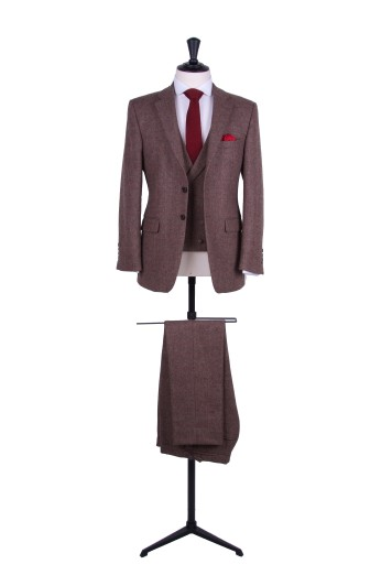 Slim fit tweed wedding suit hire