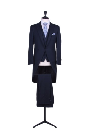 Slim fit navy wedding suit hire