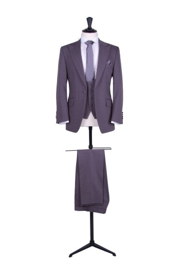 Grey slim fit groom wedding suit hire with scoop waistcoat
