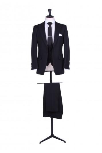 slim fit black wedding suit hire