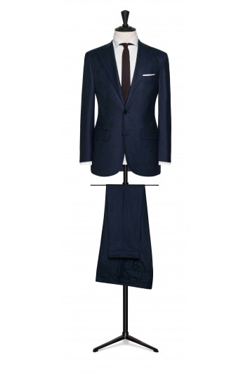 grooms melange blue wool with brown windowpane wedding suit