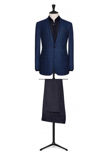 mid blue-slate blue wool glencheck wedding jacket