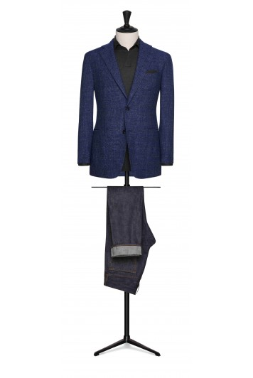 mid blue mouliné glencheck grooms wedding jacket