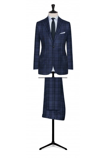 wedding suit windowpane check bright blue