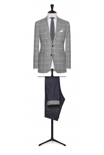mid grey mouliné with white windowpane wedding jacket
