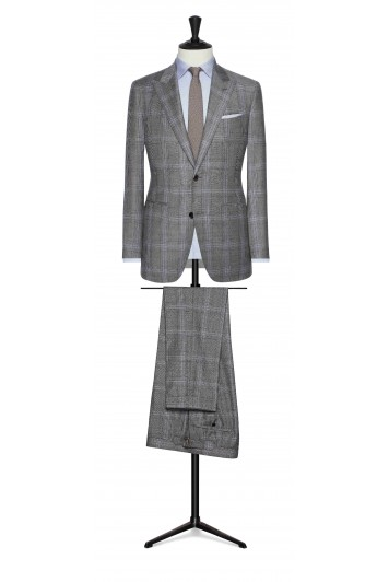 mid grey windowpane with mid blue detail wedding suit