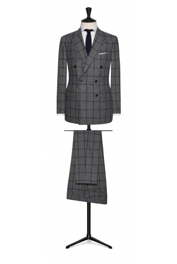 mid grey wool with dark blue windowpane.