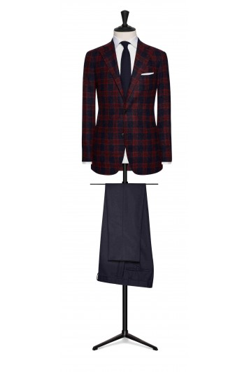 midnight blue alpaca-wool bouclé with bright red windowpane wedding jacket