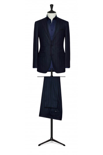 midnight blue with blue stripes wedding suit