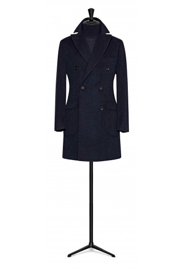 mixed blue wool-mohair double breasted buisness overcoat