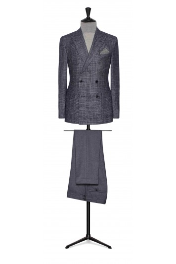 mixed blue wool-silk-cashmere glencheck wedding jacket